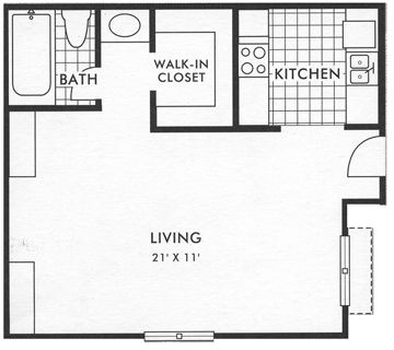 368 sq. ft. Eff floor plan