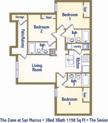 1,148 sq. ft. C1 floor plan