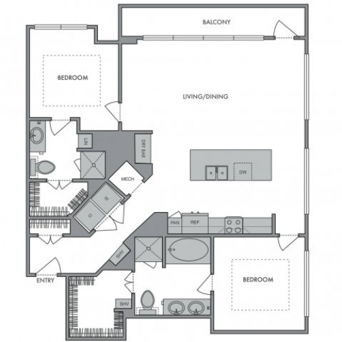 1,309 sq. ft. N floor plan