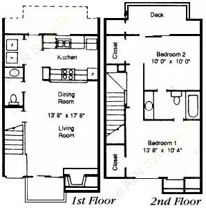 960 sq. ft. 2/1.5 floor plan