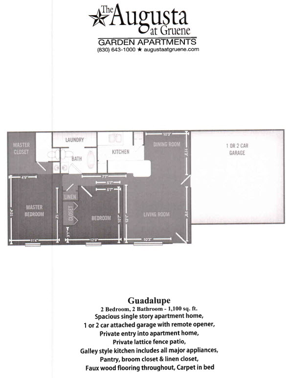 1,100 sq. ft. Guadalupe floor plan