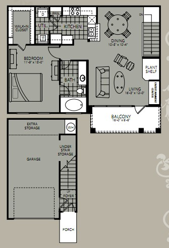 903 sq. ft. Cassini floor plan