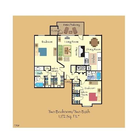 1,172 sq. ft. B2 floor plan