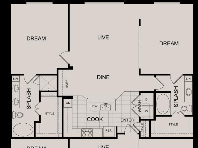 1,297 sq. ft. Soho floor plan