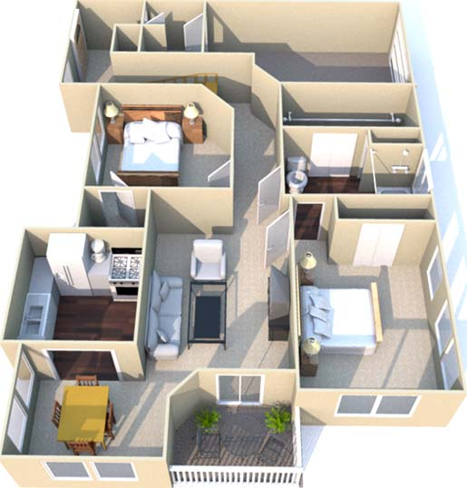 1,143 sq. ft. F floor plan
