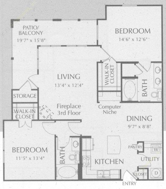 1,172 sq. ft. Bandera floor plan