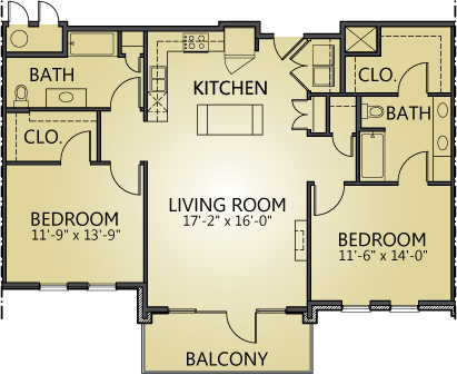 1,244 sq. ft. to 1,290 sq. ft. B3 floor plan