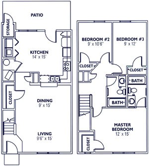 1,110 sq. ft. 60% floor plan