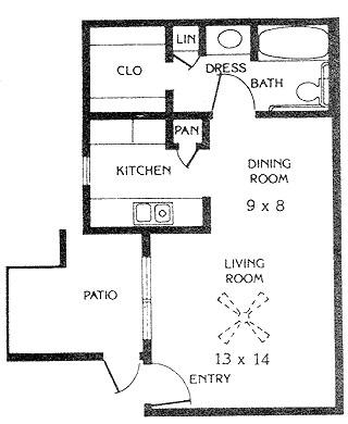 450 sq. ft. E1 floor plan