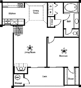 741 sq. ft. A2 floor plan