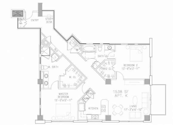 1,538 sq. ft. B5 floor plan