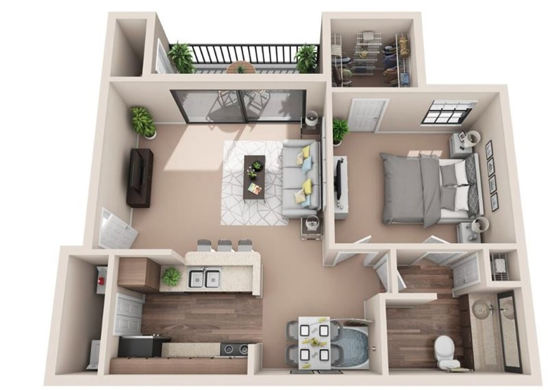 650 sq. ft. A1U floor plan