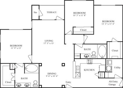 1,488 sq. ft. DE VACA/GARAGE floor plan