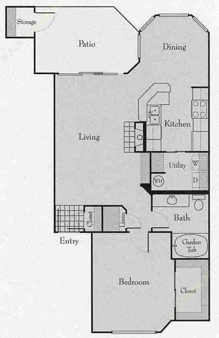 863 sq. ft. 1C floor plan