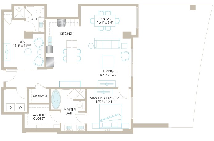 1,338 sq. ft. A9D floor plan