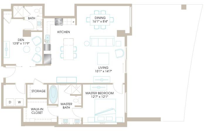 1,338 sq. ft. A9D floor plan