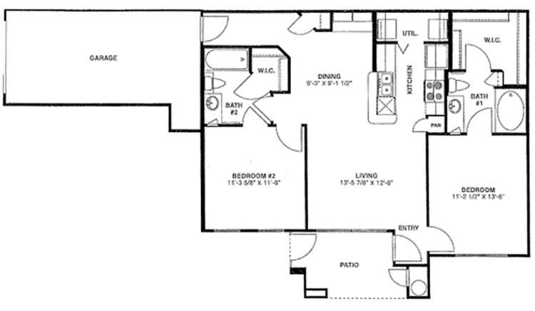 988 sq. ft. D/60% floor plan