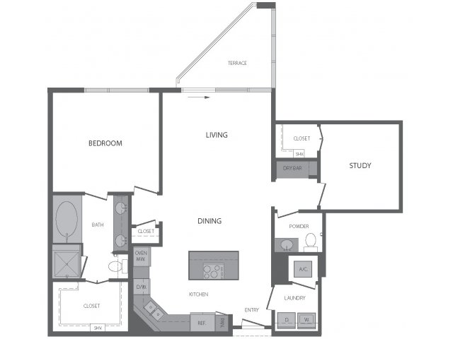 1,129 sq. ft. I floor plan