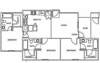 1,022 sq. ft. C1 floor plan
