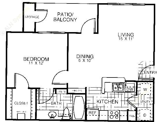 667 sq. ft. A1C floor plan