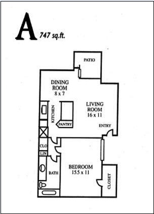 747 sq. ft. A floor plan