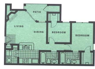 900 sq. ft. B4-III floor plan