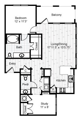 995 sq. ft. B4B floor plan