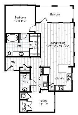995 sq. ft. B4B floor plan