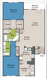 1,337 sq. ft. B3 floor plan
