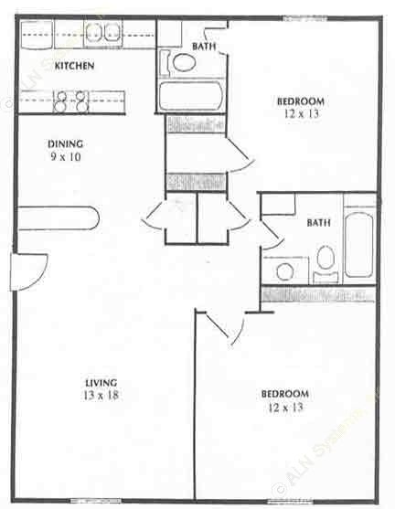 975 sq. ft. floor plan