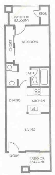 456 sq. ft. to 661 sq. ft. B floor plan