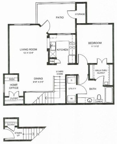 858 sq. ft. A1u floor plan