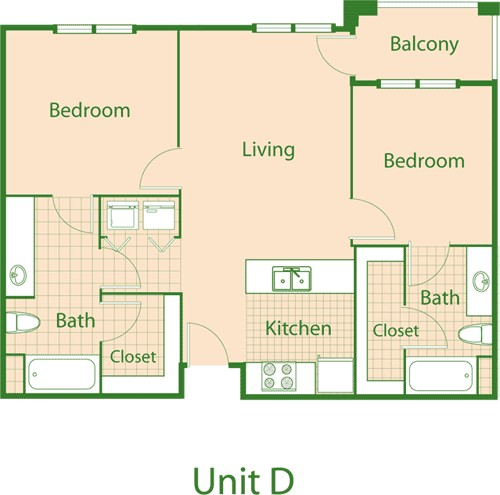 925 sq. ft. Mocking/Mkt floor plan