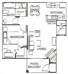 673 sq. ft. A floor plan