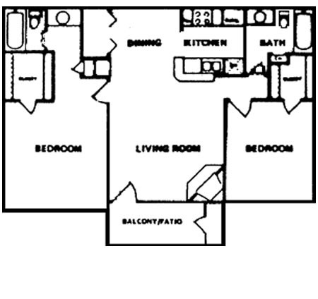 950 sq. ft. E floor plan