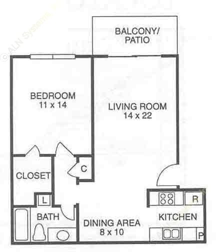 697 sq. ft. A1 floor plan