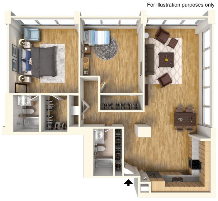 1,130 sq. ft. B3 floor plan