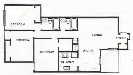 1,100 sq. ft. 3A floor plan