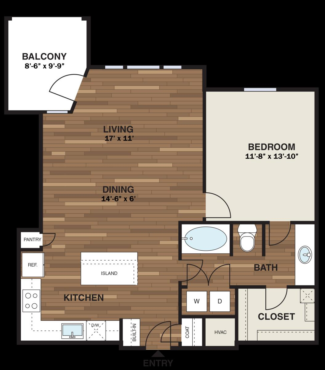 865 sq. ft. A14G floor plan