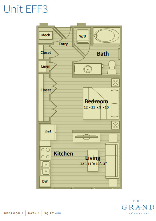 488 sq. ft. EFF 3 floor plan