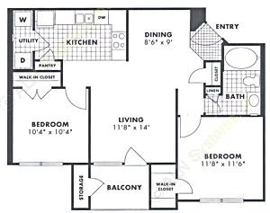 823 sq. ft. Cypress floor plan