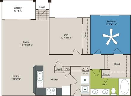 1,043 sq. ft. A6 floor plan