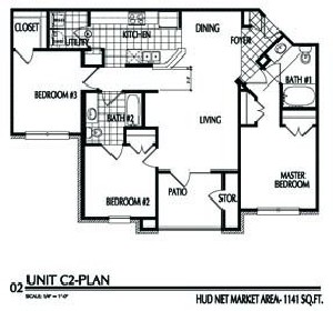 1,141 sq. ft. C2/60% floor plan