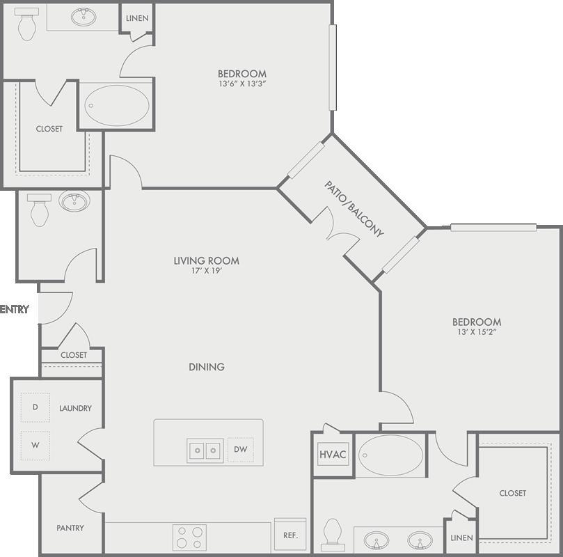 1,411 sq. ft. B8-2 floor plan