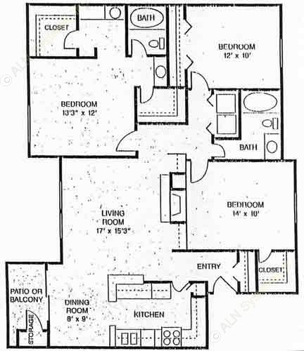 1,320 sq. ft. Hearthstone floor plan