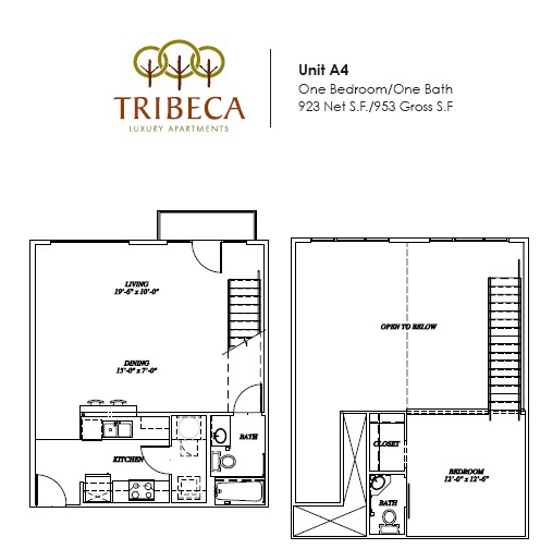 923 sq. ft. Broadway floor plan
