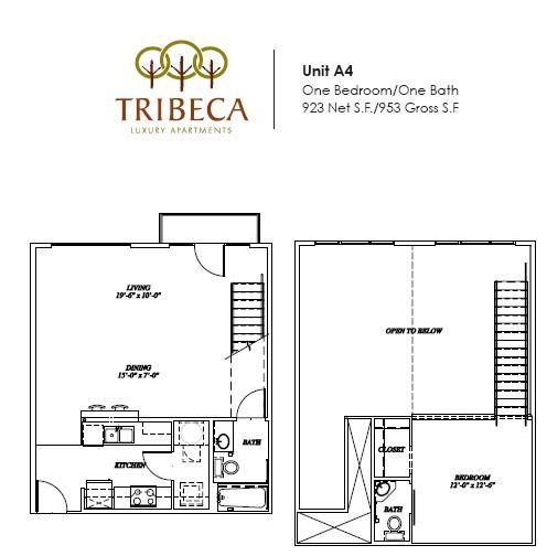 923 sq. ft. Broadway floor plan