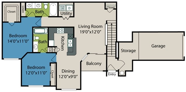 1,208 sq. ft. B4 floor plan