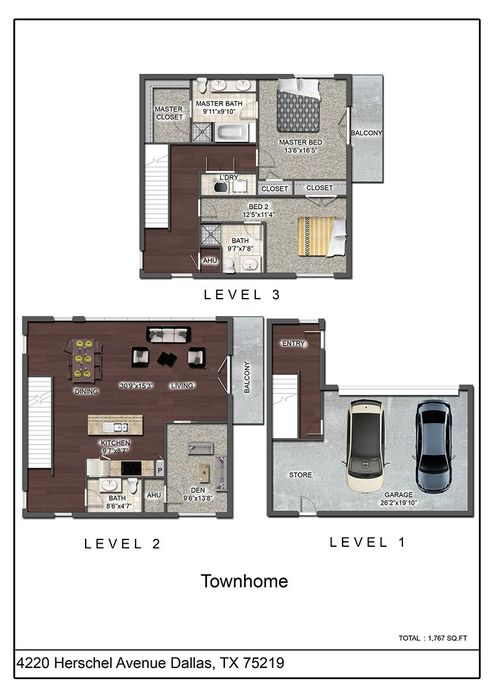 1,767 sq. ft. TH floor plan