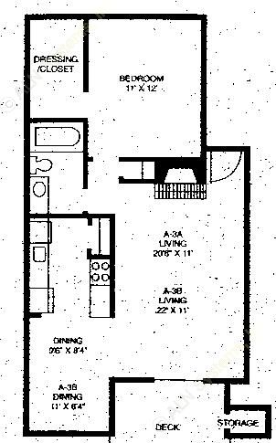 674 sq. ft. A3A floor plan